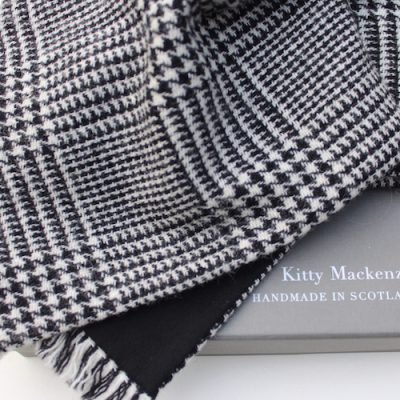 Prince of Wales check with black cashmere