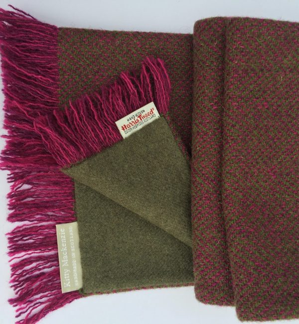 Pink and green herringbone Harris Tweed with green cashmere reverse.